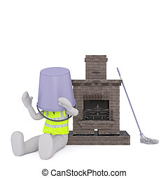 Cartoon Chimney Sweep on Floor with Bucket on Head