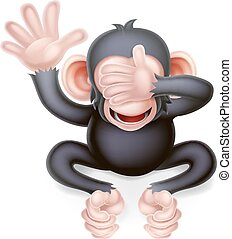 Cartoon Chimp Monkey Pointing - See no evil cartoon wise ...