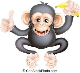 Cartoon Chimp Monkey With Banana