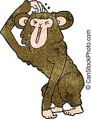 cartoon chimp scratching head