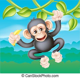 Cartoon Chimp with Banana - A cute cartoon chimp primate,...