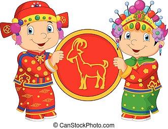 Cartoon Chinese kids holding goat s