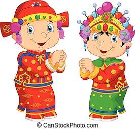 Cartoon Chinese kids wearing Chines