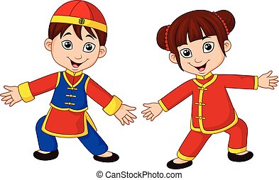 Cartoon Chinese kids with traditional costume