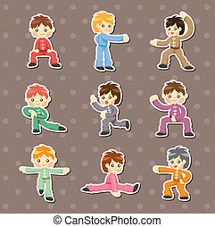 cartoon chinese Kung fu stickers