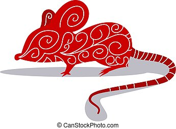 Cartoon chinese mouse vector illustartion on white background
