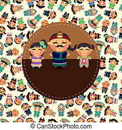 cartoon chinese people card