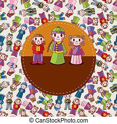 cartoon chinese people card