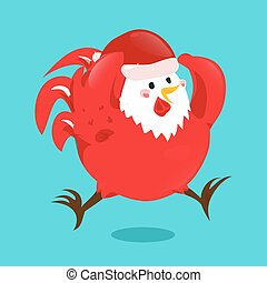 Cartoon chinese zodiac fire rooster.
