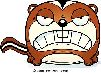 Cartoon Chipmunk Angry - A cartoon illustration of a...