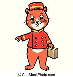 Cartoon Chipmunk Bellboy - Cartoon vector illustration of...