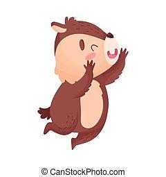 Cartoon chipmunk jumping. Vector illustration on white background.