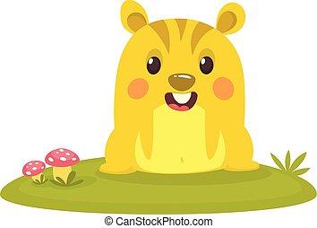 Cartoon chipmunk on grass background.