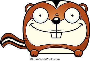 Cartoon Chipmunk Peeking - A cartoon illustration of a...