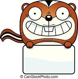 Cartoon Chipmunk Sign - A cartoon illustration of a chipmunk...