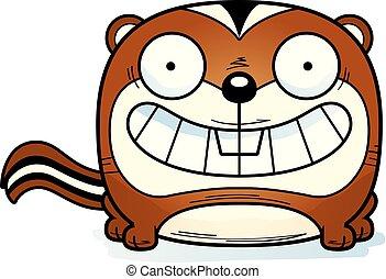 Cartoon Chipmunk Smiling - A cartoon illustration of a...