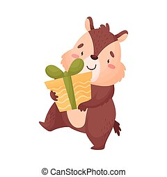 Cartoon chipmunk with a gift. Vector illustration on white background.