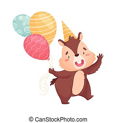 Cartoon chipmunk with balloons. Vector illustration on white background.