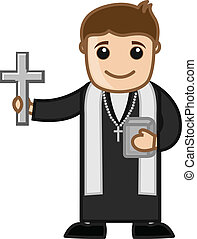 Cartoon Christian Priest Vector - Priest - Vector Character...