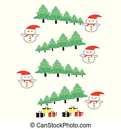 Cartoon Christmas Background with snowmen and trees