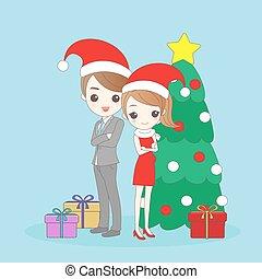 christmas business man and woman
