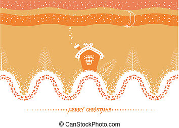Cartoon Christmas card with house and snow landscape. Vector background for text