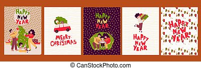 Cartoon Christmas cards Set, Vector illustration, poster. Merry christmas.