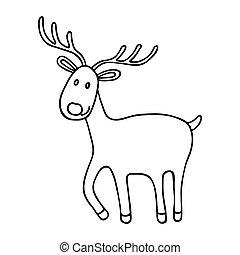 Cartoon Christmas deer icon