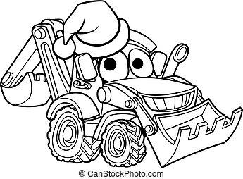 Cartoon Christmas Digger Bulldozer