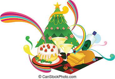 cartoon Christmas dinner