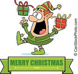 Cartoon Christmas Elf Banner