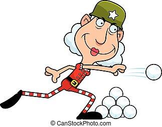 An illustration of a cartoon Christmas elf grandma throwing a snowball.