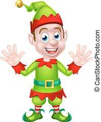 Cartoon Christmas Elf Waving