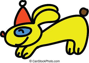 cartoon christmas hand-drawn rabbit