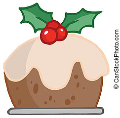 Holly Topped Christmas Pudding - Cartoon Christmas Holly...
