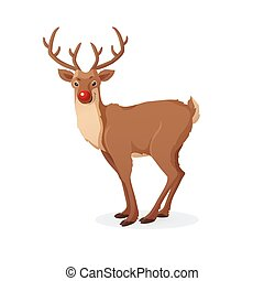 Cartoon Christmas illustration. Funny Rudolph red nose ...
