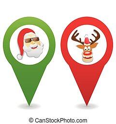 cartoon Christmas map pin icons