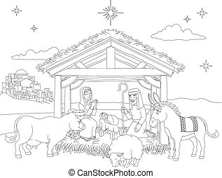 Cartoon Christmas Nativity Scene Coloring