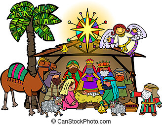 Cartoon Christmas Nativity Scene