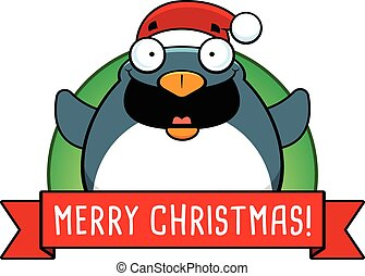 Cartoon Christmas Penguin Banner