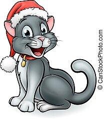 Cartoon Christmas Pet Cat - A pet cat cartoon character ...