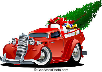 Cartoon Christmas Pickup - Cartoon christmas pickup isolated...