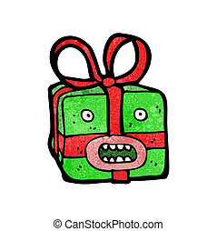cartoon christmas present monster