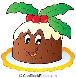 Cartoon Christmas pudding - vector illustration.