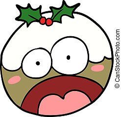 cartoon christmas pudding with shocked face