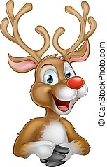 Cartoon Christmas Reindeer - A cartoon Christmas Reindeer