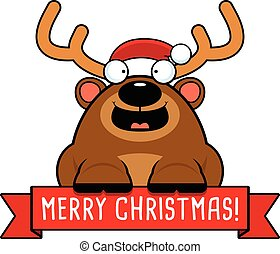 Cartoon Christmas Reindeer Banner