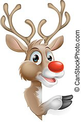 Cartoon Santas Christmas Reindeer peeking around a sign and pointing