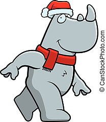 Cartoon Christmas Rhino - A cartoon illustration of a rhino...