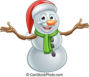 Cartoon Christmas Santa Hat Snowman